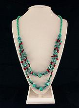 Gushing Sky Blue Turquoise 417.50ctw Beads Necklace - L22135