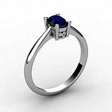Sapphire 0.60 ctw Ring 14kt White Gold - L15232