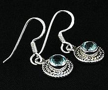 1.12CT Round Blue Topaz Antique Design .925 Earring 2.84g - L20156