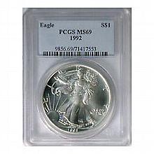 1992 1 oz Silver American Eagle MS-69 PCGS - L22621