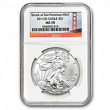 2011 (S) Silver Eagle NGC MS-70 - San Francisco Mint Label - L22881