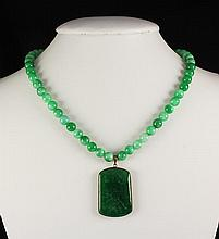 Green Jade Beaded Charm Necklace with Slab Jade HeartShape Pendant 48.40 grams - L25109