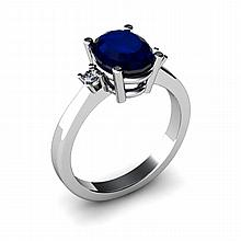 Sapphire 2.20ctw Ring 14kt White Gold - L11065