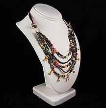 Semi Precious Gemstone Beads Handmade Organza Necklace - L23248