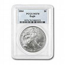 2004 1 oz Silver American Eagle MS-70 PCGS Registry Set Coin - L22894