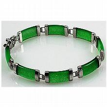 11.45g Apple Green Jade Sterling Silver Bracelet - L15511