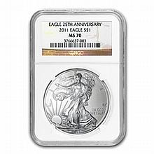 2011 Silver American Eagle (NGC MS-70) (25th Ann) - L22604