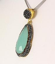 Aqua Seafoam Mint Green Natural Stone Victorian Pendant - L23029