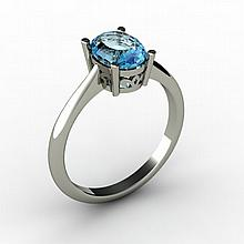 Topaz 1.60 ctw Ring 14kt White Gold - L15258
