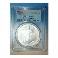 2007-W (Burnished) Silver American Eagle MS-70 PCGS - L22817