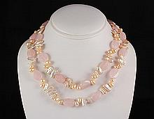 Rose Quartz Natural Stone Handknotted Necklace - L23276