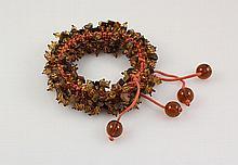 Chrocheted Wrap Bracelet with Beads & Gemstone - L23443