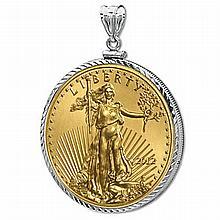 2012 1/4 oz Gold Eagle White Gold Pendant (DiamondScrewTop Bezel) 14kt - L19912