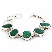 130.5ctw Unique Silver Emerald Bracelet - L10769