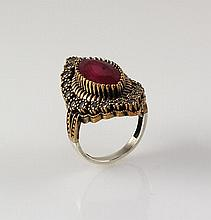 Natural Stone Cocktail Victorian Design Ring - L23163