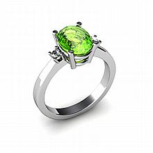 Peridot 2.00ctw Ring 14kt White Gold - L11063
