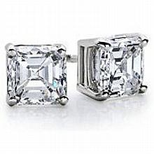 1.25 ctw Princess cut Diamond Stud Earrings G-H, SI2 - L11538