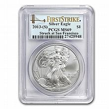 2013 (S) Silver American Eagle MS-69 PCGS (First Strike) - L22742