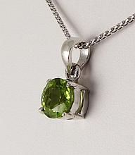 Sterling Silver Prong Set Pendant with Peridot - L23958