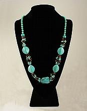Gushing Sky Blue Turquoise 460.50ctw Beads Necklace - L22099