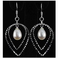 Natural 4.72g Pearl Dangling Sterling Silver Earring - L15919