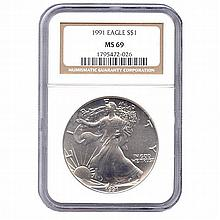 Certified Uncirculated Silver Eagle 1991 MS69 - L17973