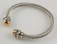 20.54G ANTIQUE SILVER 2TONE TWISTED BANGLE BRACELET - L22386