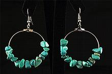 NATURAL 37.71CTW TURQUOISE HOOP SILVER EARRING - L22335