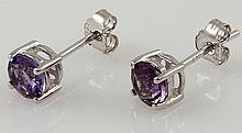 Amethyst Gemstone 0.96ctw Silver Stud Earring 0.57g - L22390
