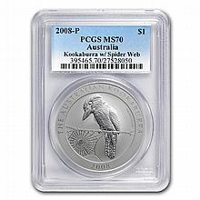 2008 1 oz Silver Australian Kookaburra - MS-70 PCGS - L25050