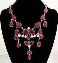 RUBY CORRUNDUM 124.50GRAMS SILVER STATEMENT NECKLACE - L19863