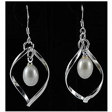 Natural 3.87g Pearl Spiral Dangling Silver Earring - L17868