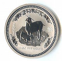 Australian Lunar Silver 1 oz Silver 2003 Goat - L18166