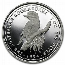 1994 1 oz Proof Silver Australian Kookaburra - L25067