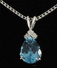 3.49 carat Natural Blue Topaz Oval & Diamond Necklace 14kt Wgold - L22418