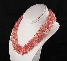Woven Multi-Strand Natural Chip Beads Necklace - L23435