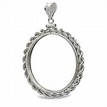Sterling Silver Screw Top Rope Polished Coin Bezel - 40.6mm - L22539