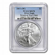 2011 (W) 1 oz Silver American Eagle MS-70 PCGS West Point Label - L22722