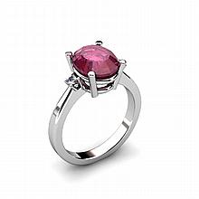 Ruby 3.15ctw Ring 14kt White Gold - L11076