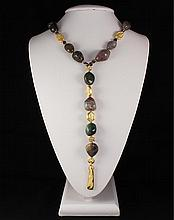 Tumble Polished Natural Stone Agate Necklace - L23293