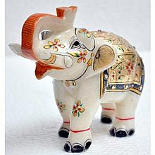 Marble UpTrunk Elephant w/ Gold Plated Design 5in.x6in. - L16159