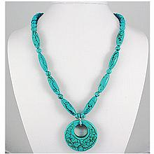 Natural 376.70ctw Turquoise Sterling Silver Necklace - L15916