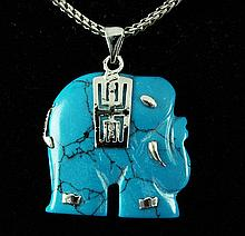 ELEPHANT TURQUOISE 26.64CTW SILVER PLATED PENDANT - L19632