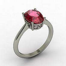 Garnet 2.10 ctw Ring 14kt White Gold - L15264