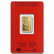 5 gram Pamp Suisse Year of the Dragon Gold Bar (In Assay) - L27314