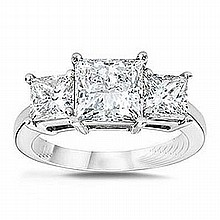 3.00 ctw Princess cut Three Stone Diamond Ring, G-H, SI2 - L11406