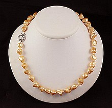 Keshi Yellow Peach Pearl Handmade Necklace - L23904