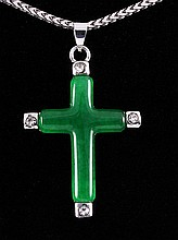 JADE CROSS 3.23GRAMS IN SILVER PLATED PENDANT - L19617