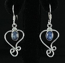 Cabochon Tanzanite 17.53ctw Dangling Hook .925 Earring - L20134