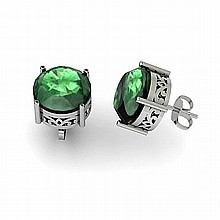 Emerald 6.10ctw Earring 14kt White Gold - L11196